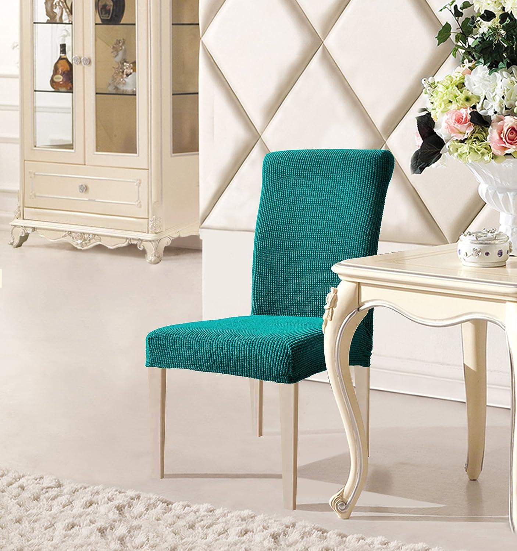 Amazon DyFun Jacquard Spandex Stretch Dining Room Chair Slipcovers 2 Blue Home Kitchen