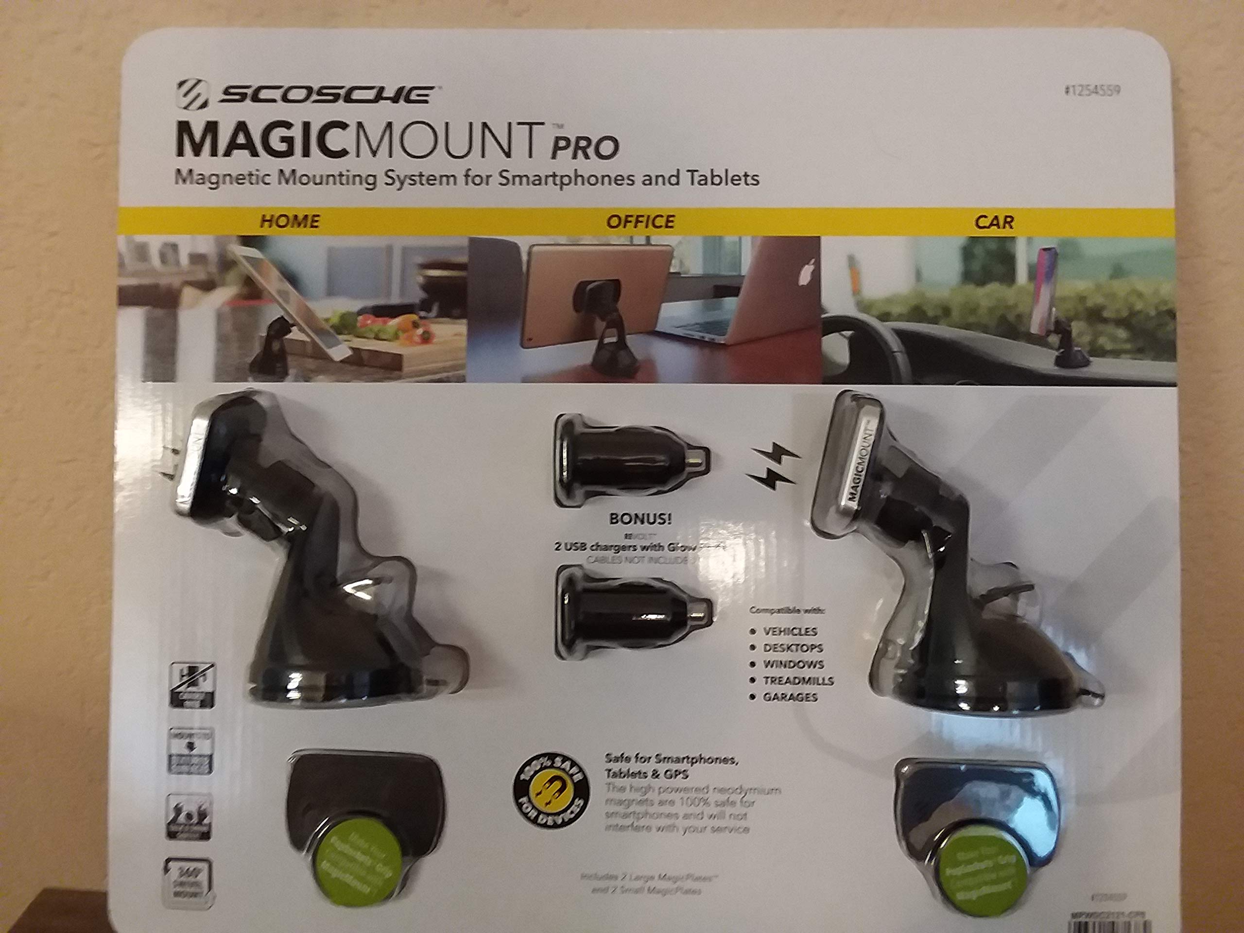 Magic Mount Pro Magnetic mounting System for Smart Phones and Tablets 2 Pack
