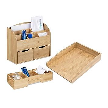 3 Tlg Schreibtisch Organizer Set Bambus Karteikasten Zum Ausziehen
