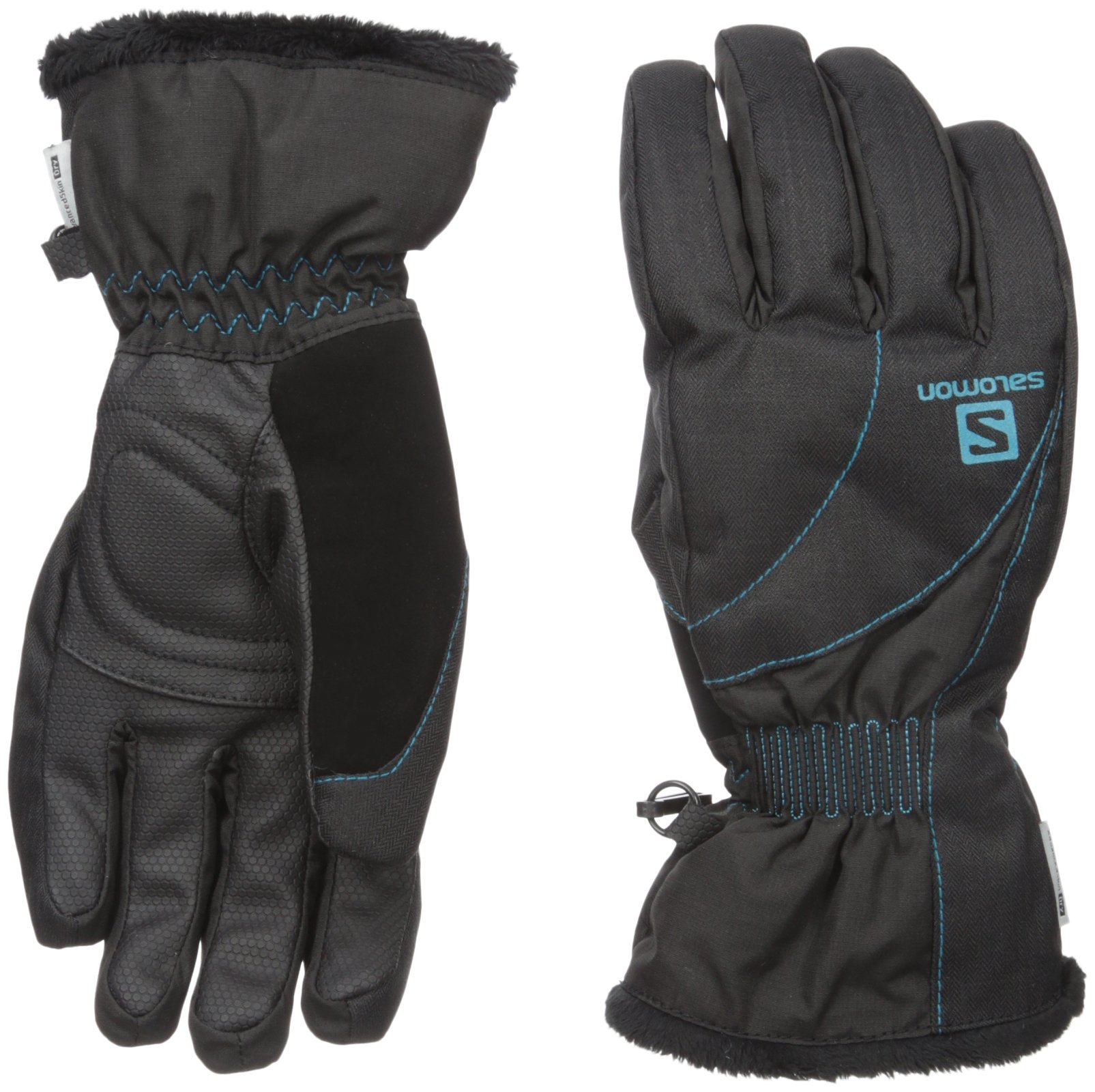 Salomon Women's Force Dry Gloves, Black/Kouak Blue, Small