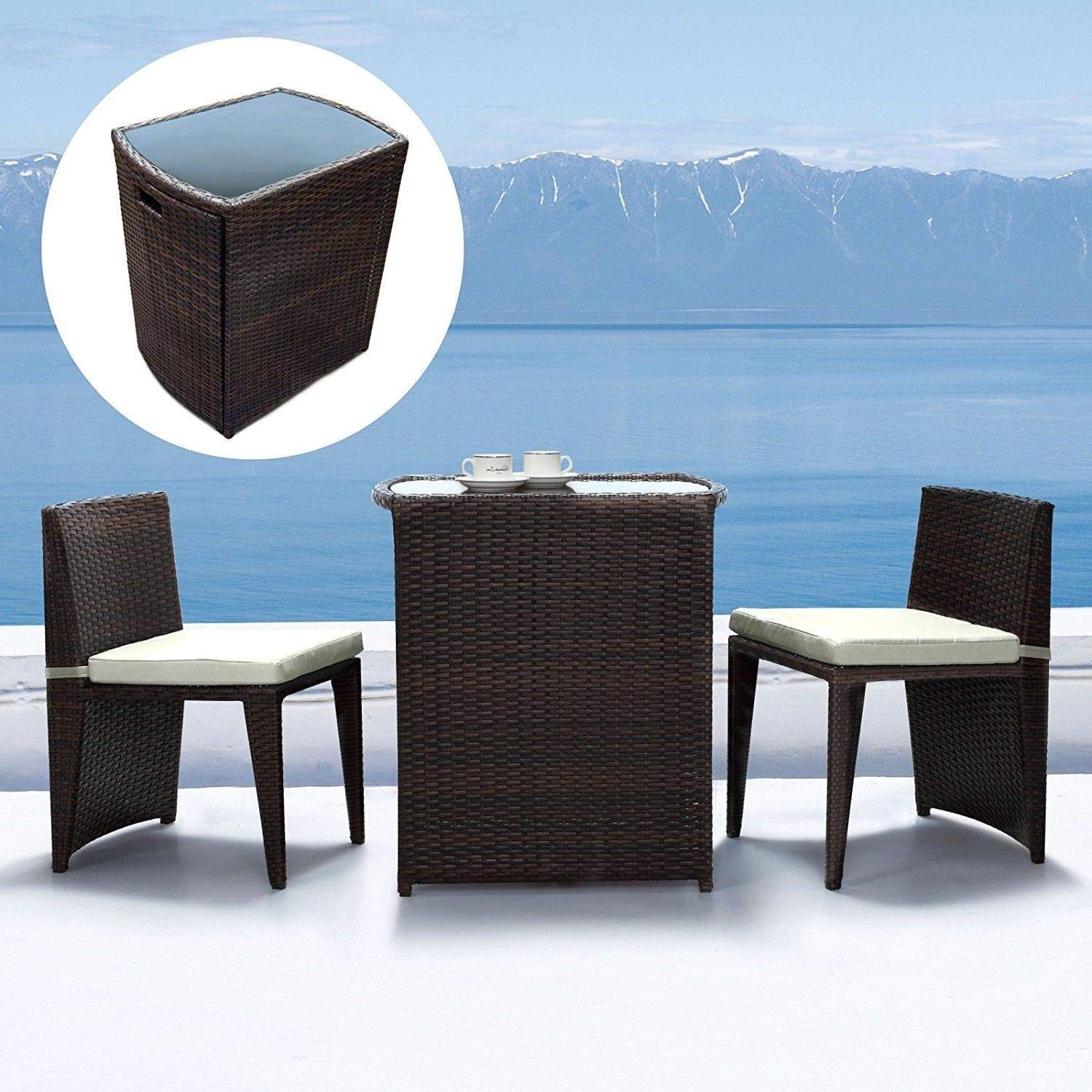 2 Chairs /& Table Rattan Set Garden Furniture Foldaway Space Saving Outdoor