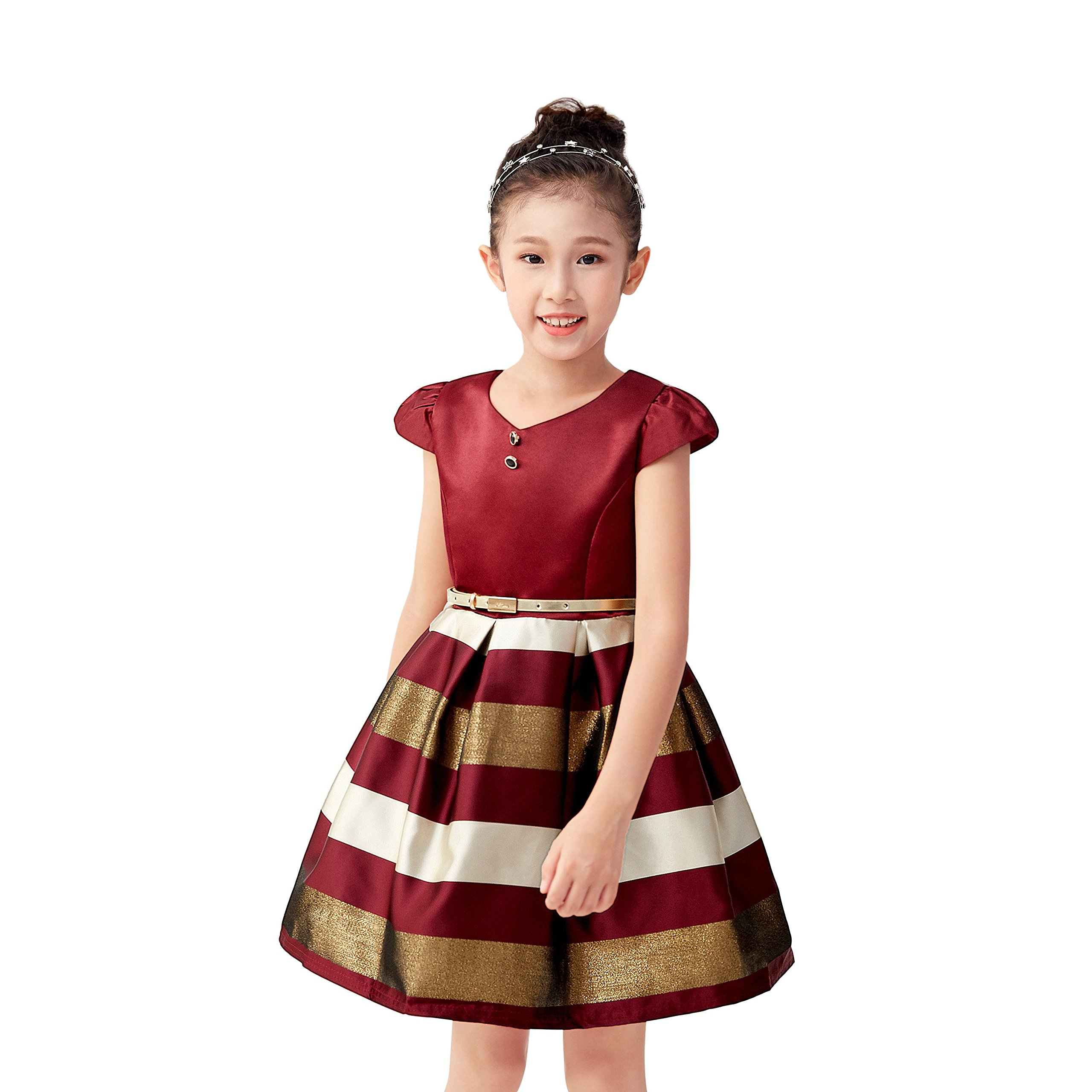 Kids Beauty 5-6 Party Dresses Children Pageant Dresses Little Girls Size 6 Toddler Baby Wedding Gown Little Girls Dresses for Wedding Guest (Burgundy Stripe, 6)