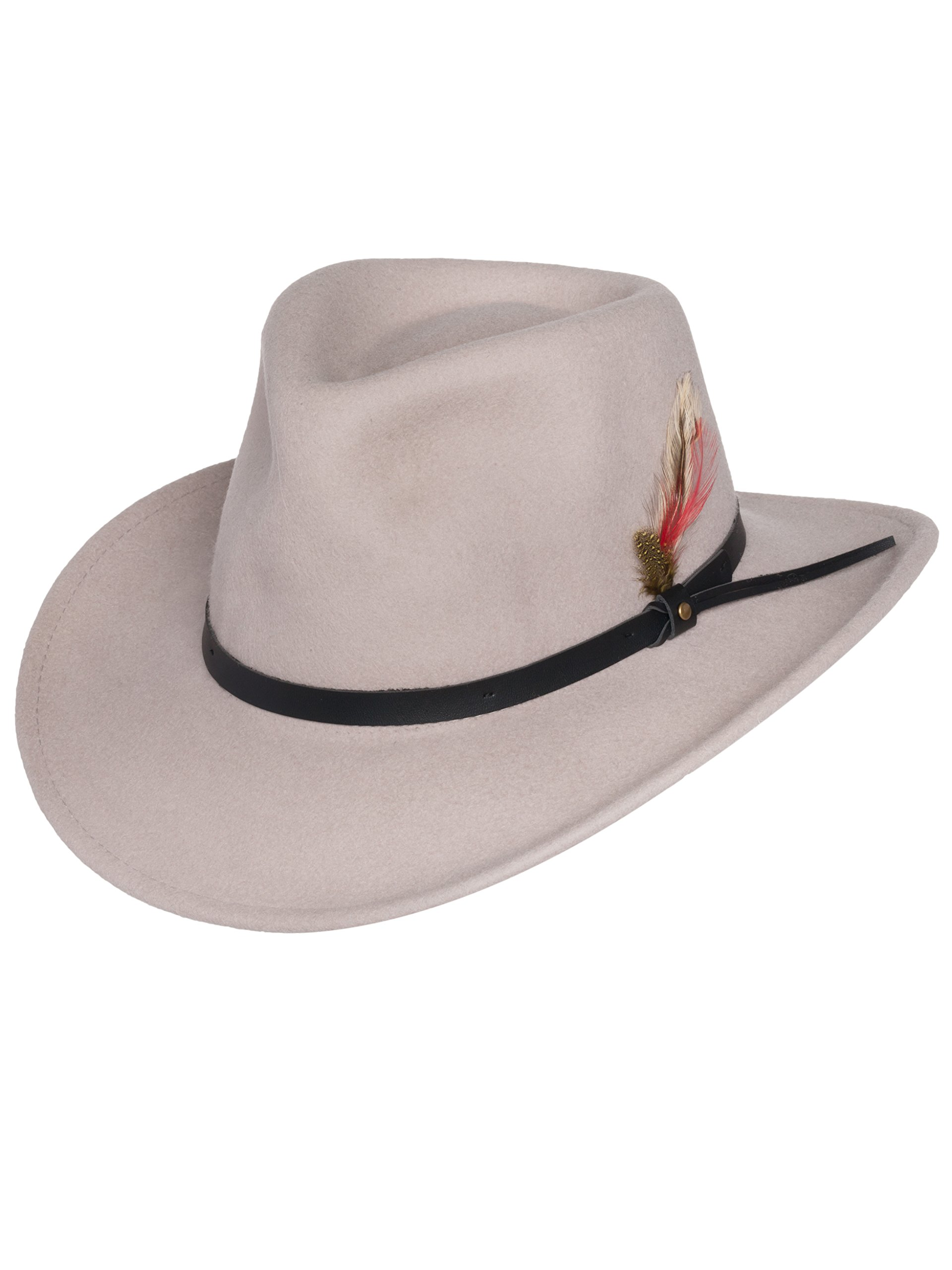 Men's Outback Wool Cowboy Hat Montana Putty Silver Belly Crushable Western Felt by Silver Canyon, Silver, Small