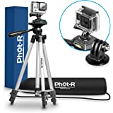 """Phot-R Professional 127cm (50"""") 4-Section Universal Aluminium Photo Video Tripod Stand with 3-Way 360° Swivel Panhead for GoPro Hero 4 3+ 2 1 Action Camera"""