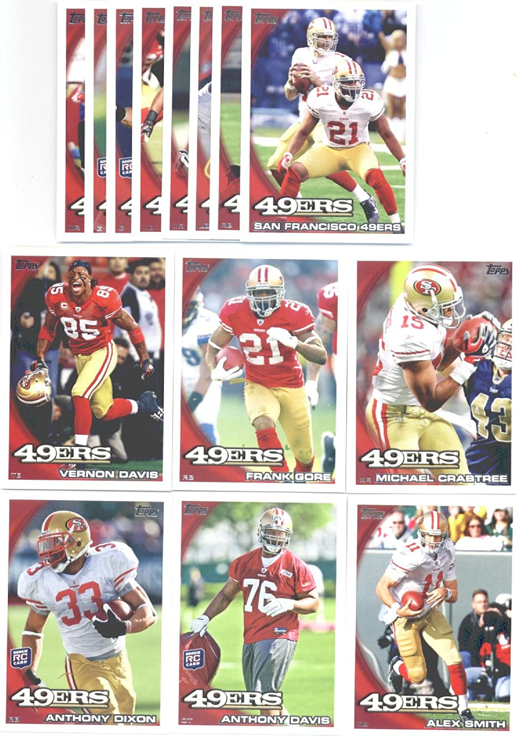 B00AWDD3WW 2011 Topps San Francisco 49ers Complete Team Set of 12 cards including Gore, Crabtree, Willis, Aldon Smith RC, Ronald Johnson RC, Hunter RC, Colin Kaepernick RC and more ! 81WogzEZW3L
