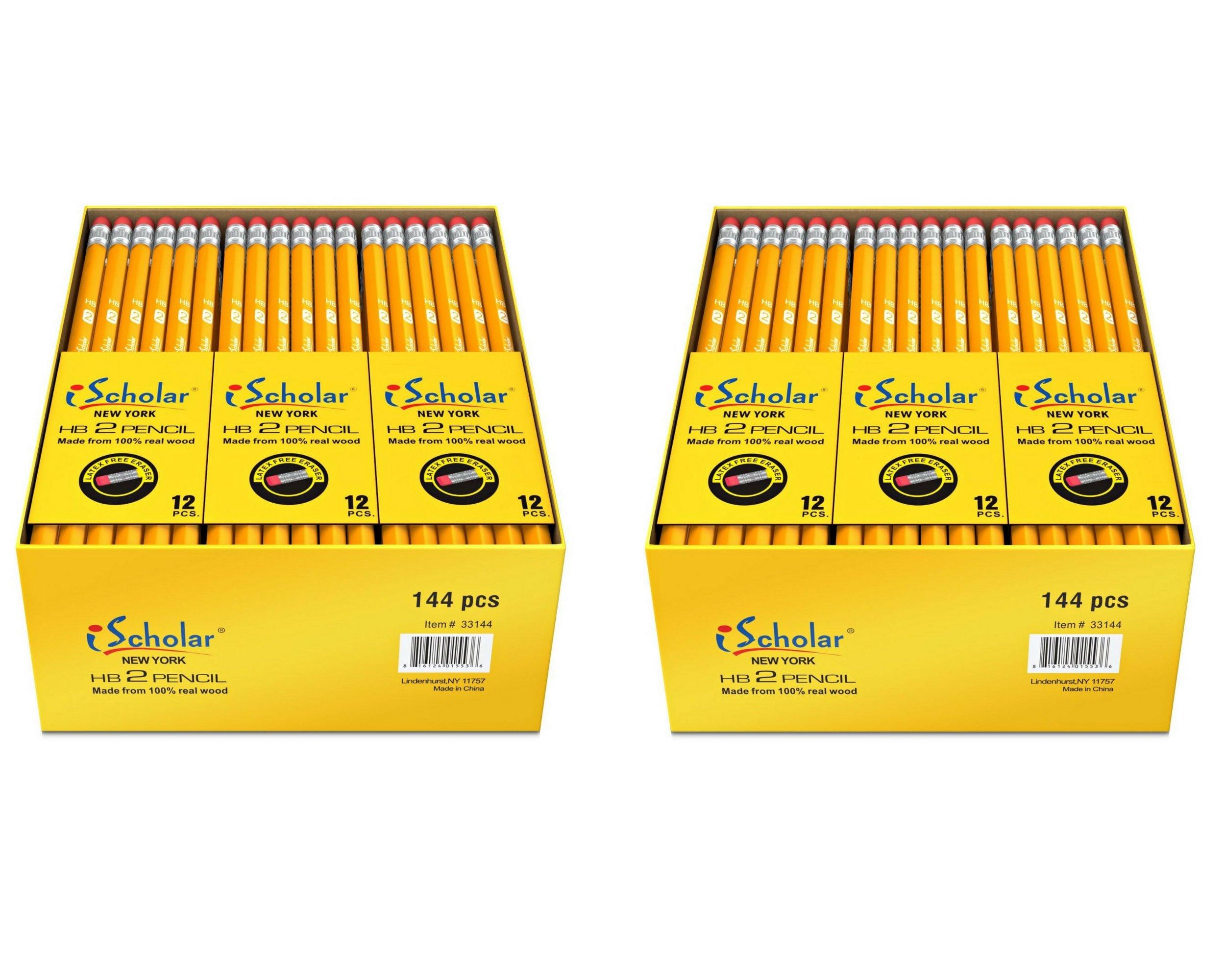 iScholar Gross Pack Pencils, #2, Yellow, 288 Pencils, 33144