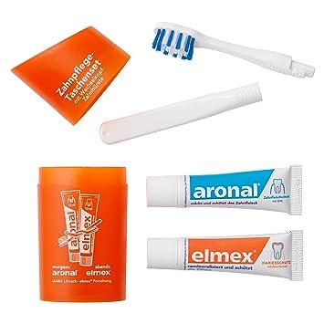(5 Pack Elmex bolsillos de cuidado de dientes Set de viaje cepillo de dientes y