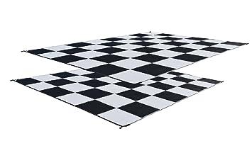 RV Patio Mat: 9x12 Black U0026 White Checkered Flag Mat
