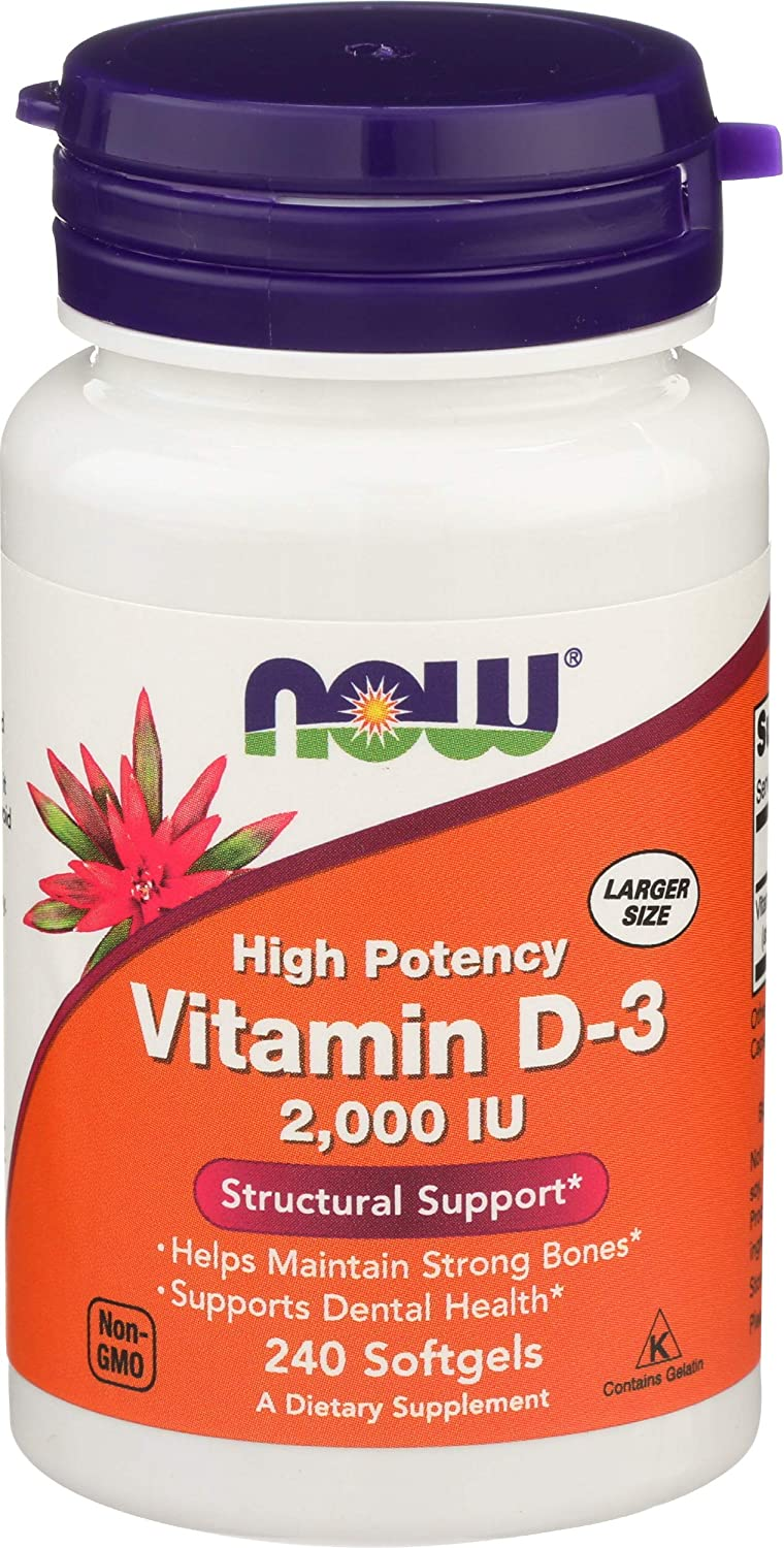 NOW Supplements, Vitamin D-3 2,000 IU, High Potency, Structural Support, 240 Softgels