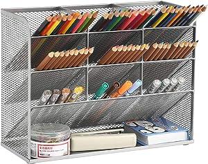 Marbrasse Mesh Desk Organizer, Multi-Functional Pen Holder, Pen Organizer for desk, Desktop Stationary Organizer, Storage Rack for School Home Office Art Supplies (Silver)