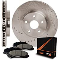 Max Brakes Cross Drilled Rotors w/Ceramic Pads Front Perforamnce Brake Kit KT028221 [Fits 2001 - 2005 Chrysler Sebring Stratus Coupe   1996 - 2001 Eclipse]