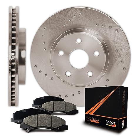 Cross Drilled Rotors >> Amazon Com Max Kt010121 Front Cross Drilled Rotors And Ceramic Pads