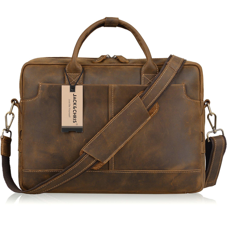 Jack& Chris New Genuine Leather Briefcase Messenger Bag Laptop Bag, NM1864