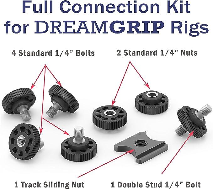 Dreamgrip Original Verbindungsset Mit 4 Universalschrauben 1 4 Zoll 2 Muttern Doppelbolzen Und Schienenanschluss Kompatibel Für