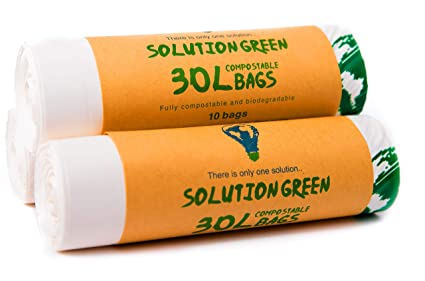 Solution Green 30L Bolsas de Basura Biodegradables y Compostables 6L | 30L Para Basura Alimentos De La Cocina, 30 Bolsas(30 Litros)