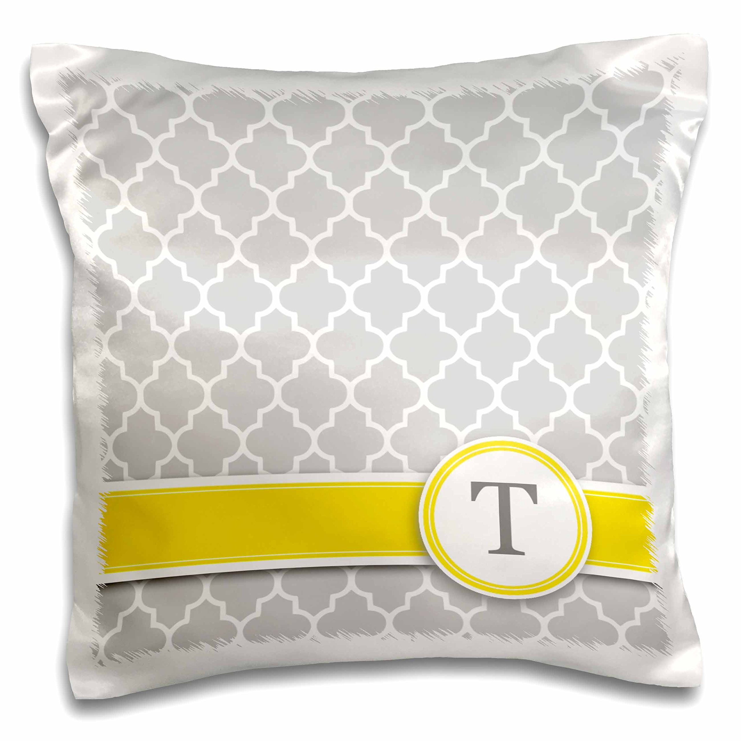 3D Rose Name Initial Letter T-Monogrammed Grey Quatrefoil Pattern-Personalized Yellow Gray Design Pillowcase, 16'' x 16''