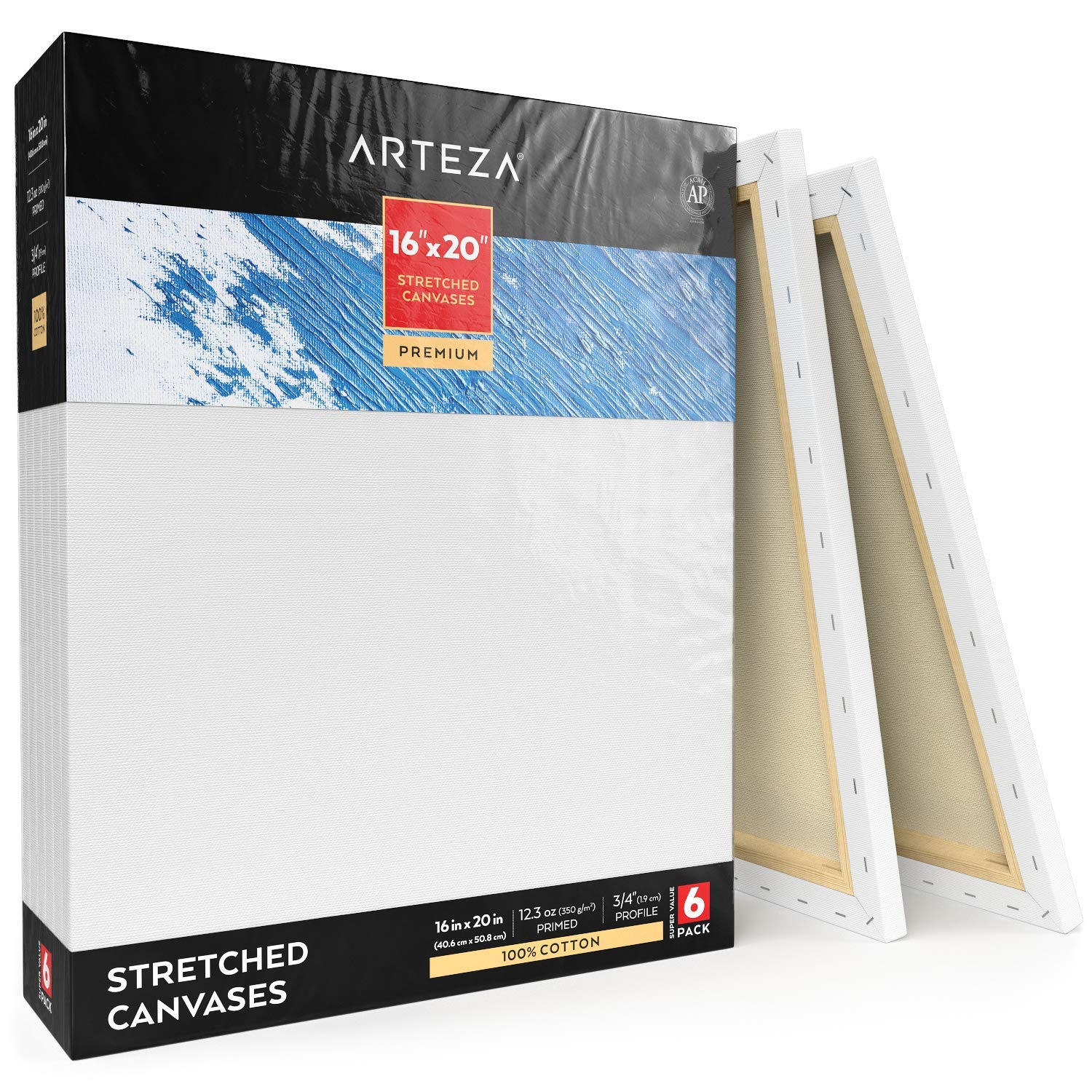 Arteza 16x20'' Professional Stretched White Blank Canvas, Bulk Pack of 6, Primed, 100% Cotton for Painting, Acrylic Pouring, Oil Paint & Wet Art Media, Canvases for Artist, Hobby Painters & Beginner