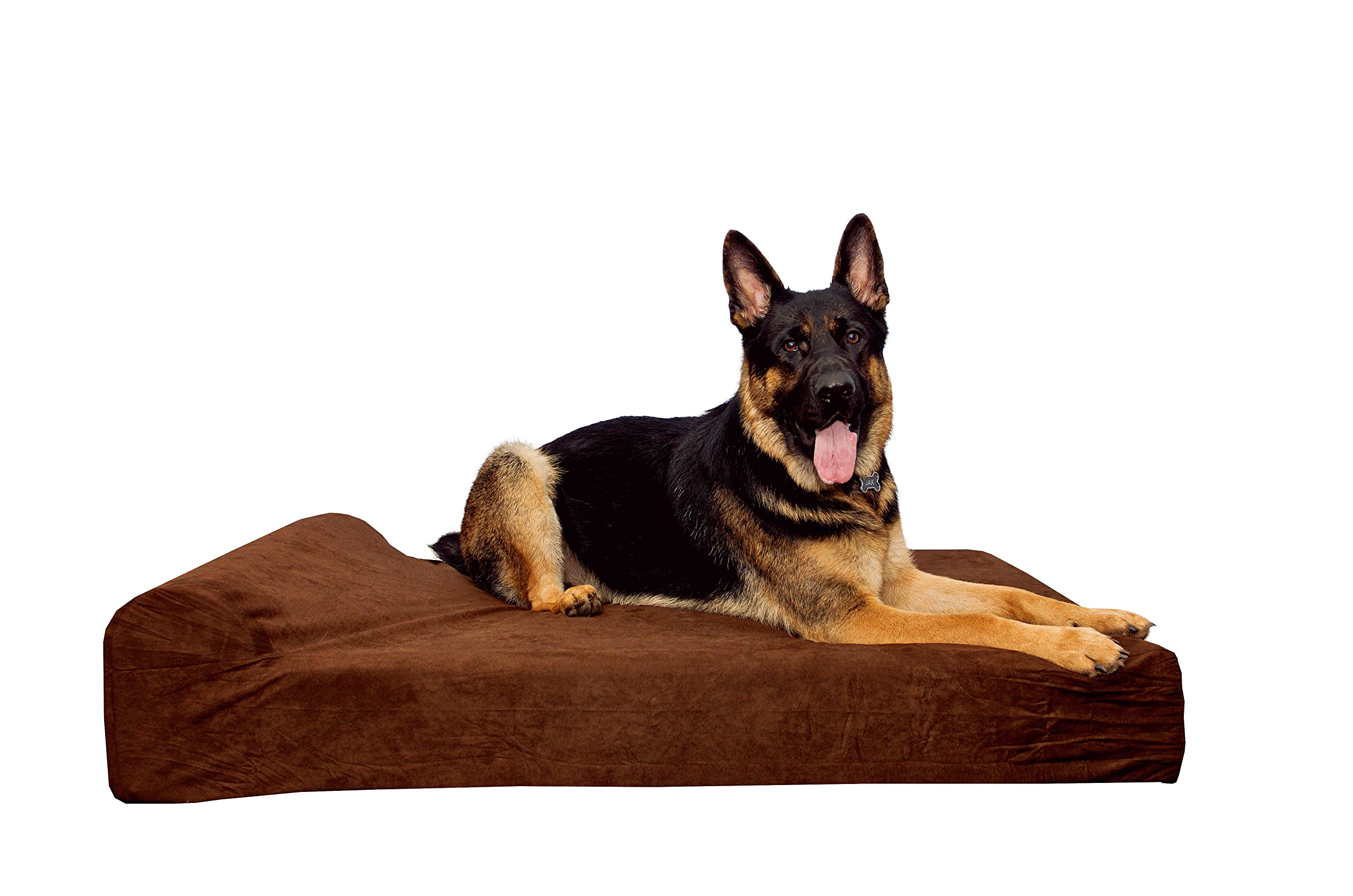 Simien Pets Dark Chocolate Extra Large Orthopedic Dog Bed, XL Waterproof Liner Included, 9'' Pillow Top Headrest, Non-Slip Bottom, Hip Dysplasia and Joint Support, Firm Highest Quality CertiPur Foam