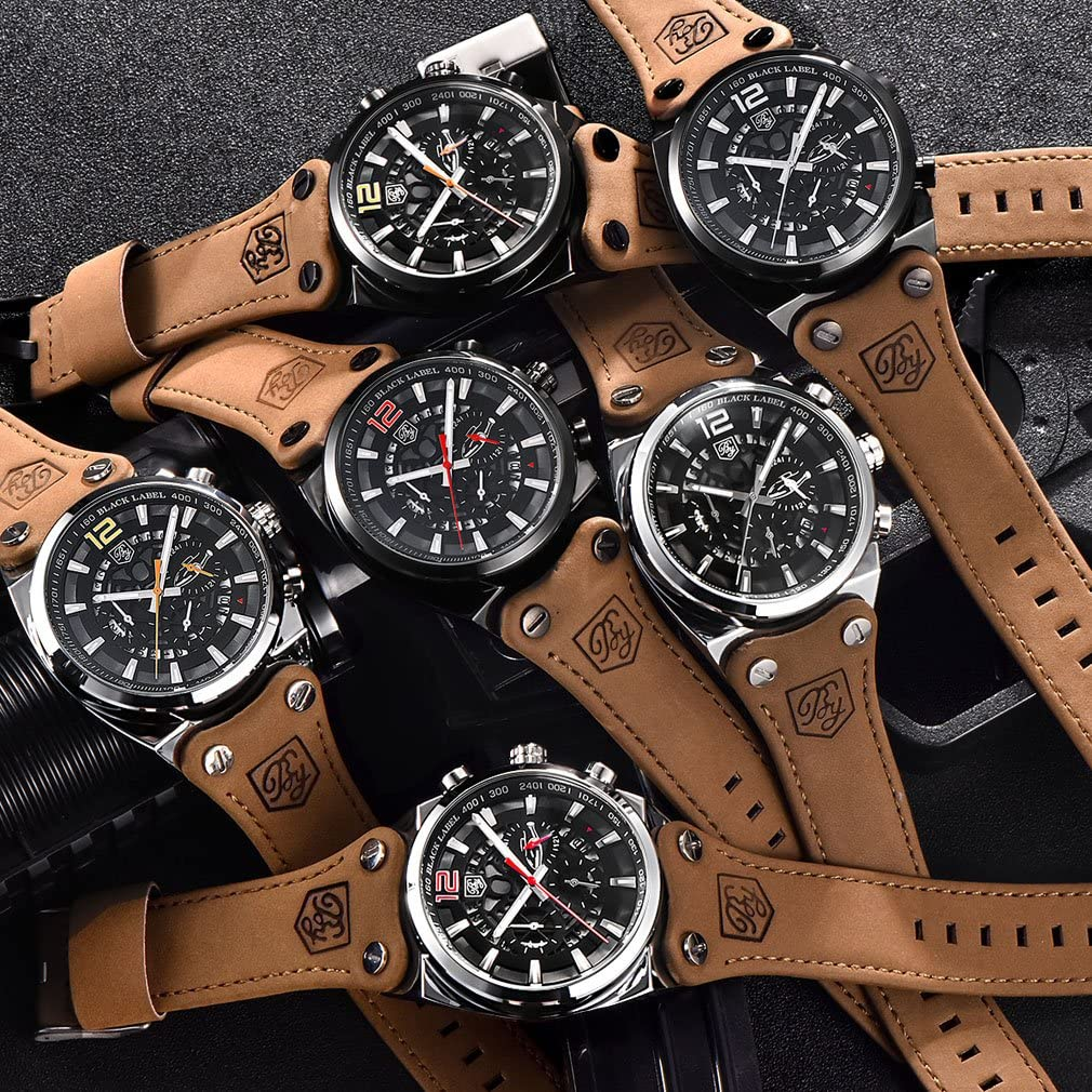 Benyar Cool à quartz pour homme chronographe étanche montres Sport militaire Sangle de bande de cuir montre bracelet Noir/Blanc