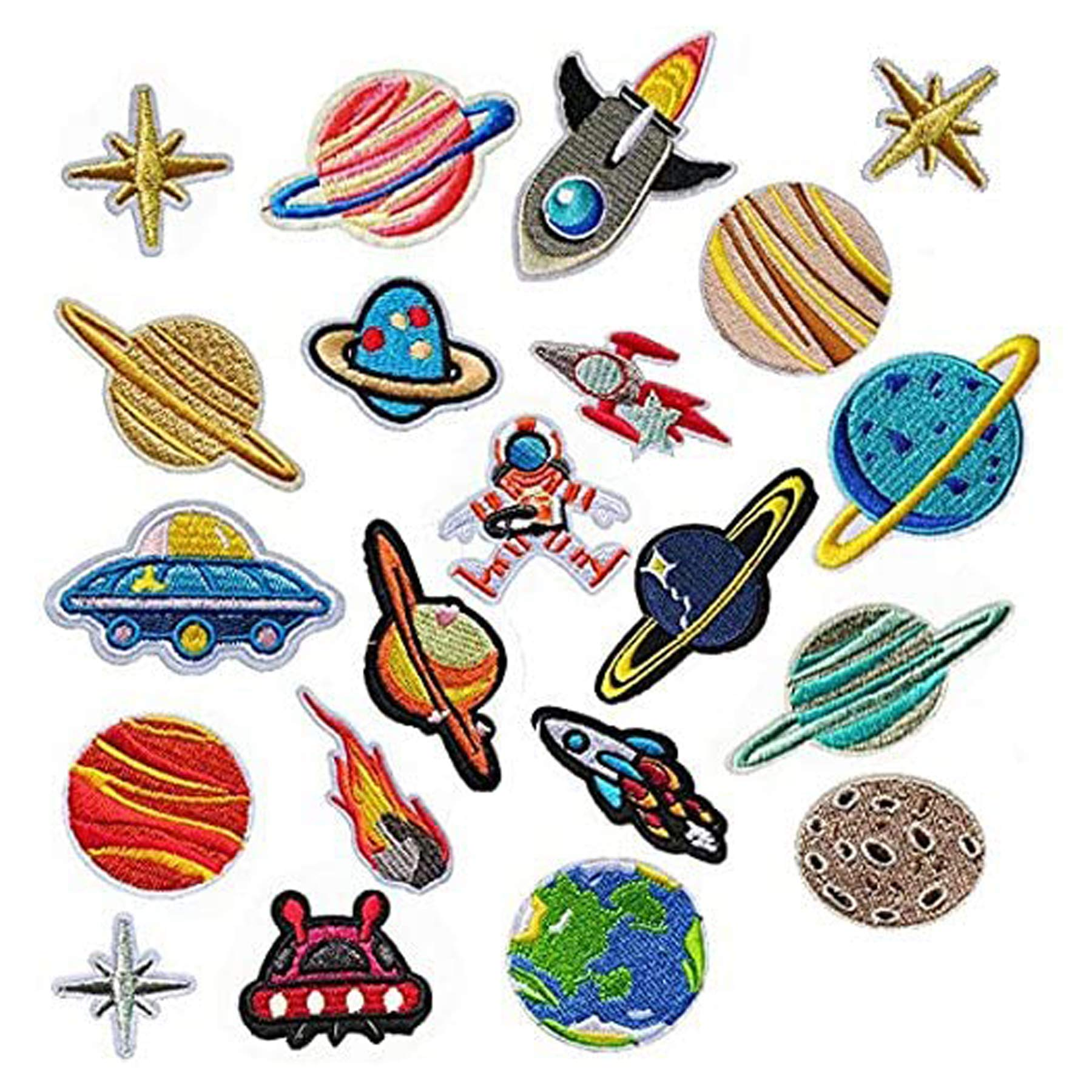 Iron on Patches 21 PCS Solar System Astronaut Space Planets Patch Iron on Patches Woohome Appliques Stickers for Clothing, Backpack, Caps, Repair The Hole Stick