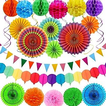 aovowog Decoración Fiesta Adornos Cumpleaños Papel Guirnalda Banderines Bola de Nido Abanicos Pompom para Boda Carnaval Mexicana (31 Pack): Amazon.es: Juguetes y juegos