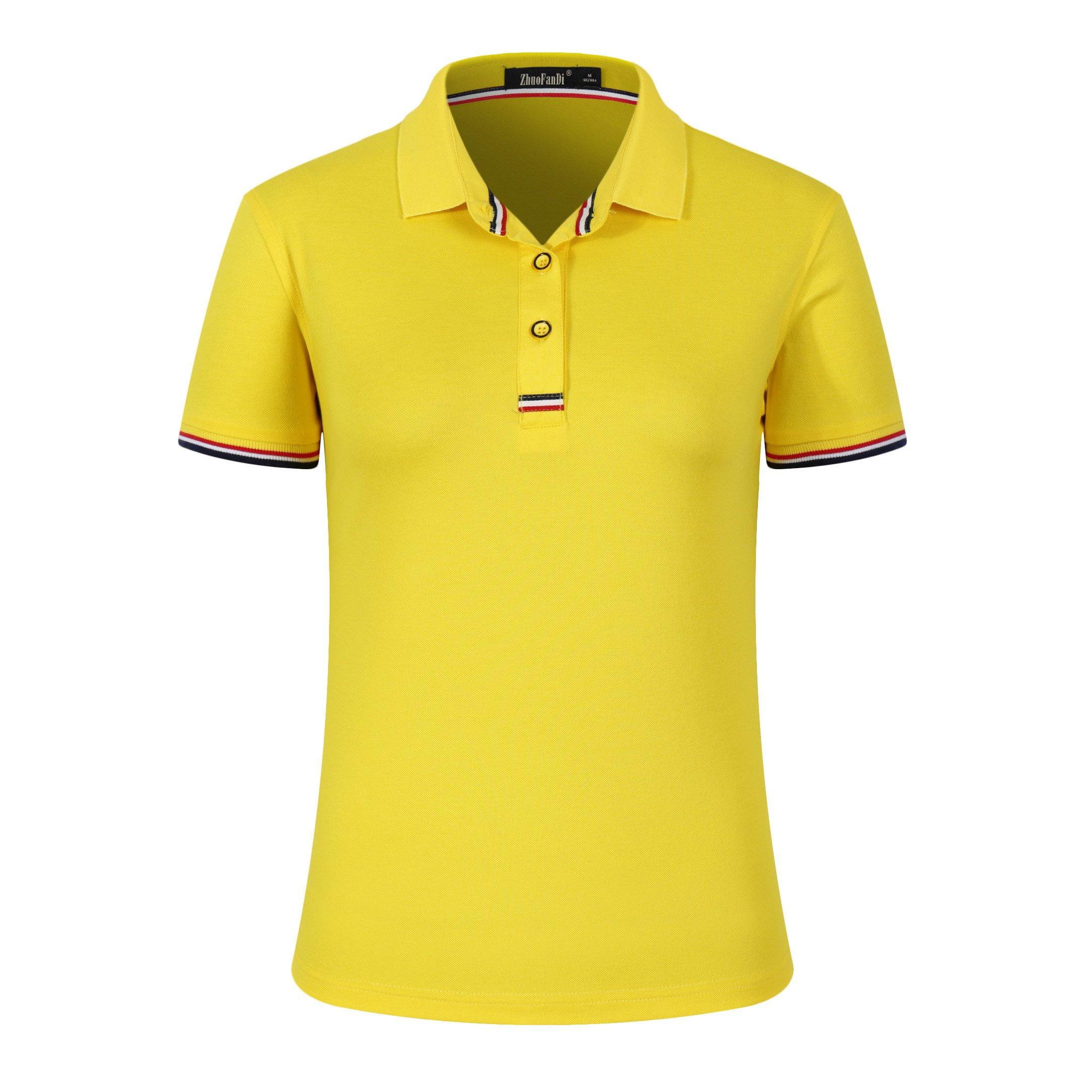 Mitario Femiego Women Classic Rainbow Collar Slim Fit Short Golf Polo Shirt Yellow S