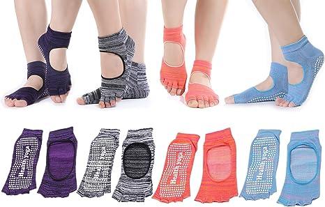 sqtar antideslizantes de las mujeres mitad Dedos empeine de rocío Yoga calcetines con agarre para barre, pilates y yoga, pack de 4: Amazon.es: Deportes y aire libre
