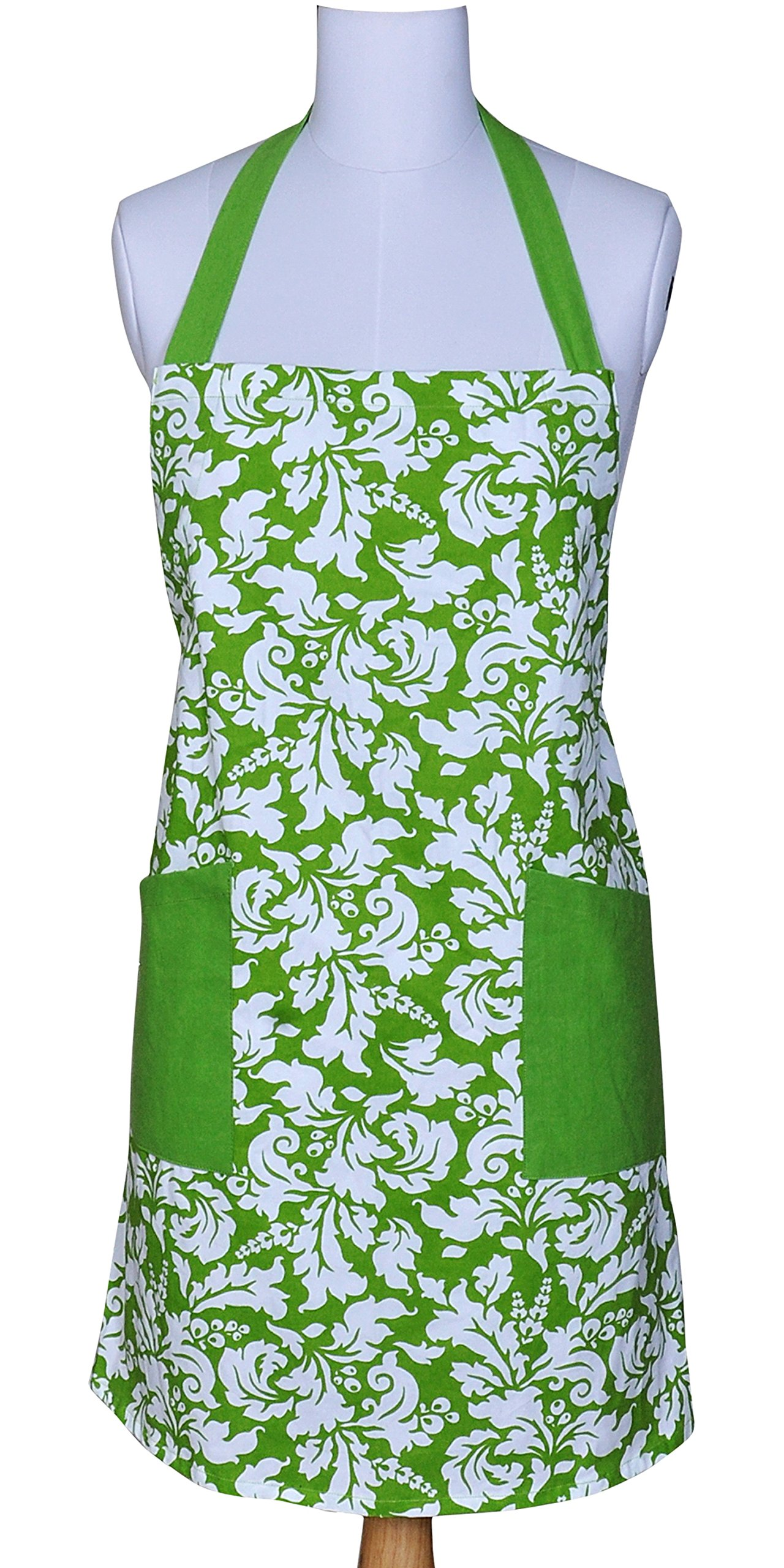 Yourtablecloth Kitchen Apron for Women and Men 100% Cotton, Adjustable Size, 2 Side Pockets-Preferred Choice for Chef Aprons & Ideal for Home Chefs too-be it Baking, Cooking, Barbecuing- Apple Green