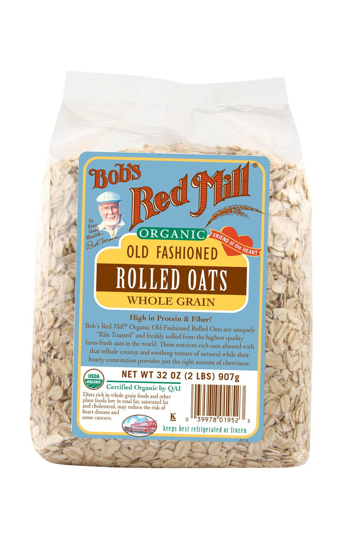 Bob's Red Mill Organic Regular Rolled Oats, 32 Ounces (Pack of 4)