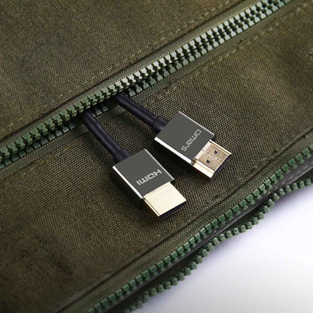 Ultra Fin Léger OMARS Câble HDMI 2.0 4K@30Hz 2160P Ethernet 3D Vidéo Retour Audio HDCP CEC Connecteur Plaqué d\'Or, 3m