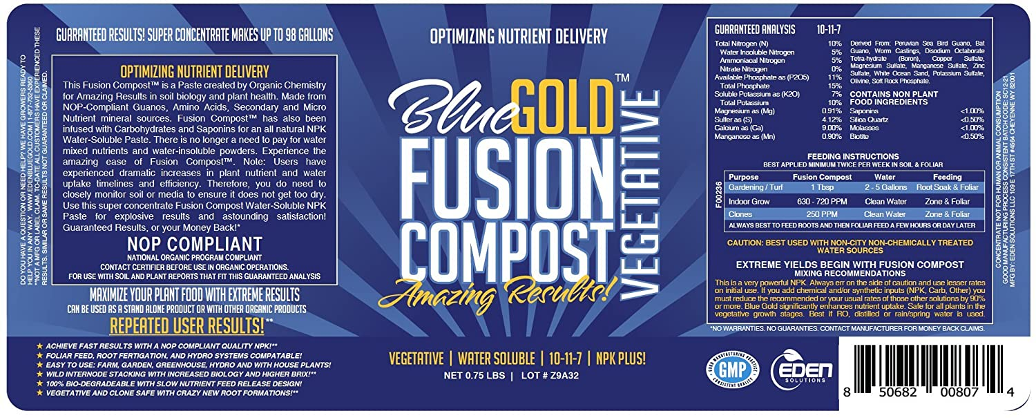 Blue Gold Compost Fusion Vegetative Natural NOP Compliant Water Soluble NPK  Fertilizer Paste for Greenhouse Vegetable Flower Rose Garden, Hydro, Lawn,