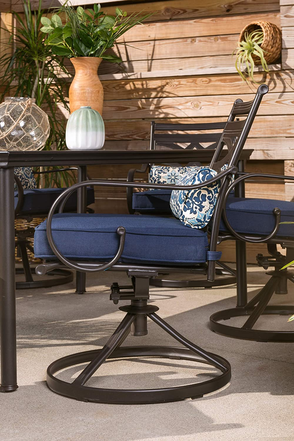 Hanover MCLRDN7PCSQSW6-NVY Montclair 7-Piece Set in Navy Blue with 6 Swivel Rockers and a 40 x 67 Dining Table Outdoor Furniture