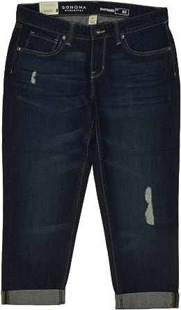 Sonoma Boyfriend Women/'s Grils Jeans Pants Straight Legs Dark Denim Blue 6s