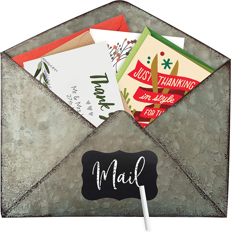 Galvanized Mail Organizer Metal Envelope - Wall Mounted Holder Farmhouse Office Decor Hanging Letter Shaped Basket Home Tin Rustic Vintage Decorative Indoor Antique Mailbox Bin File Magazine Pocket