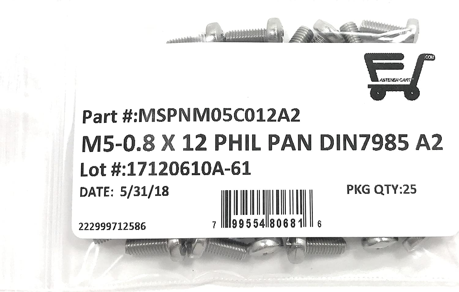 25 Pieces M5-0.8 x 12 Stainless Steel Phillips Pan Head Machine Screw DIN7985 A2 M5x12