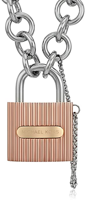 69ae99d0191dd Image Unavailable. Image not available for. Color  Michael Kors Tri Tone  Ridged Padlock Link Statement Locket Necklace