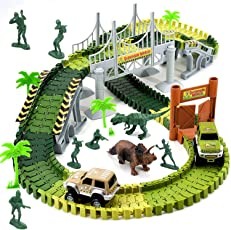 Wangday Dinosaur Toys for 3 4 5 6 7 Year Old Boys, Jurassic Park World Dinosaur Car Race Train Track Toys 149-Piece