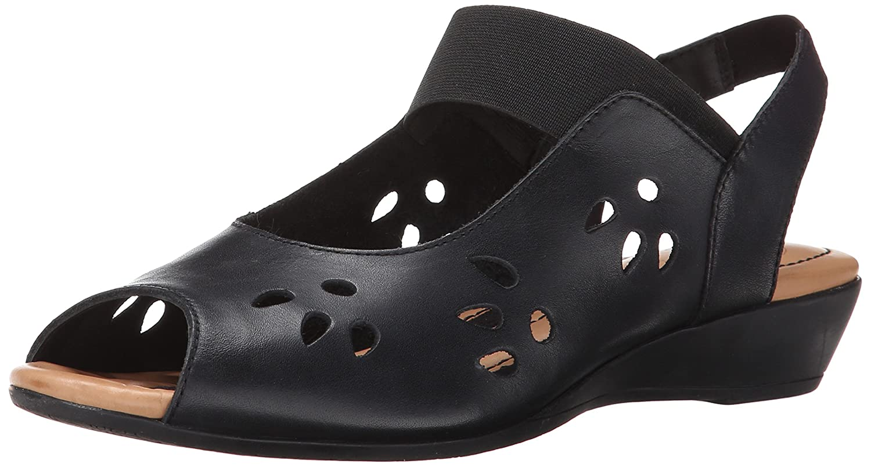 J.Renee Women's Abner Wedge Sandal B00OSKMU5G 5 B(M) US|Black Nappa