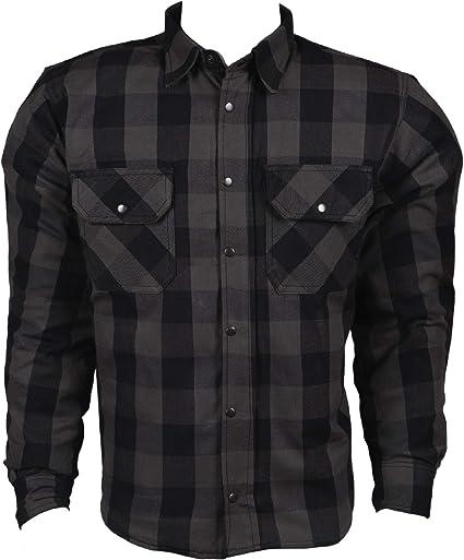 HHH SPORTS WEARS - Camisa de moto de franela forrada de Kevlar y protecciones XL gris: Amazon.es: Coche y moto