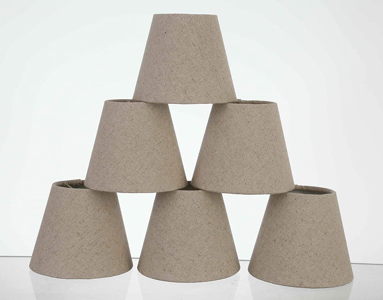 """Chandelier Shades, Clip on Dinning Room lamp Shades Hardback, Well Made lamp Shade with Pure Linen Dia 3.5'Top x 5'Bottom x 5""""H (Set of 6 Pure Linen, 3.5x5x5)"""