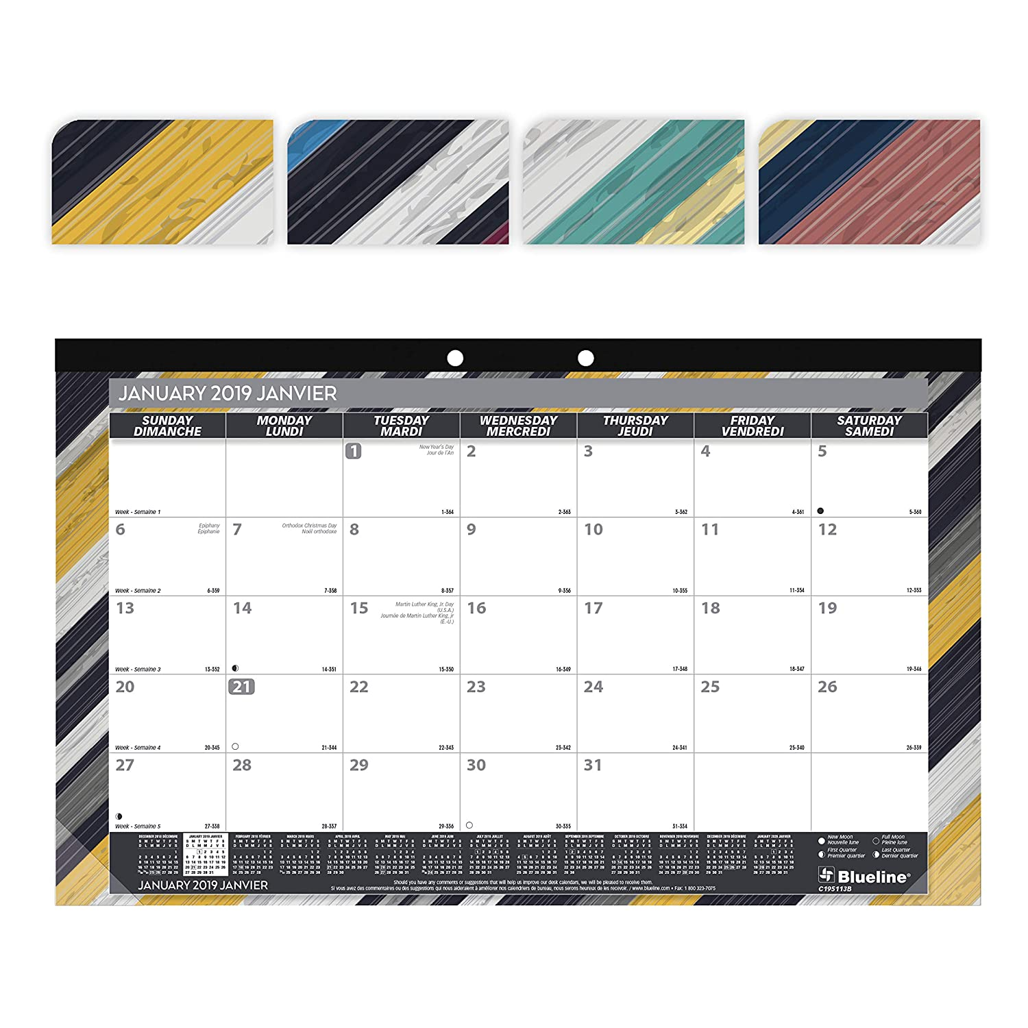 Blueline C195113B-2019 2019 Colourful Monthly Desk Pad. Geometric Designs. Bilingual. 17-3/4 x 10-7/8 Blueline Canada