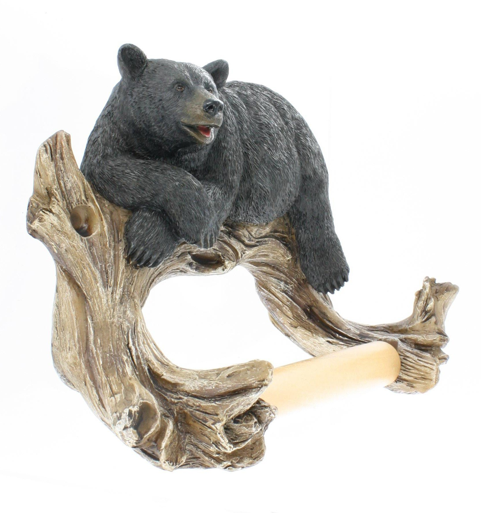 Black Bear Lounging Toilet Paper Holder Decorative Cabin Decor