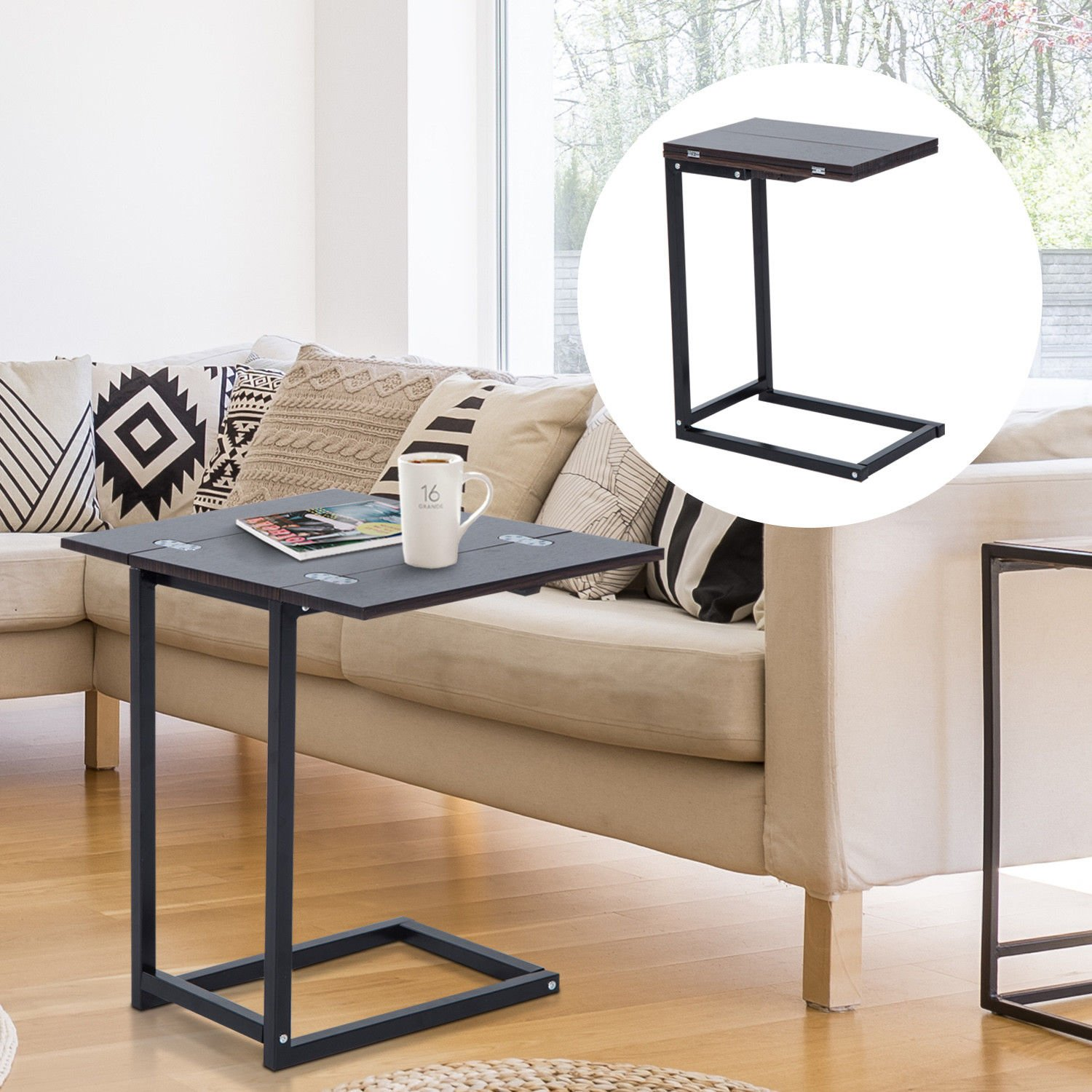 New MTN-G Expandable Side End Tray Table Folding Top Laptop Coffee Holder Modern Furniture by MTN Gearsmith