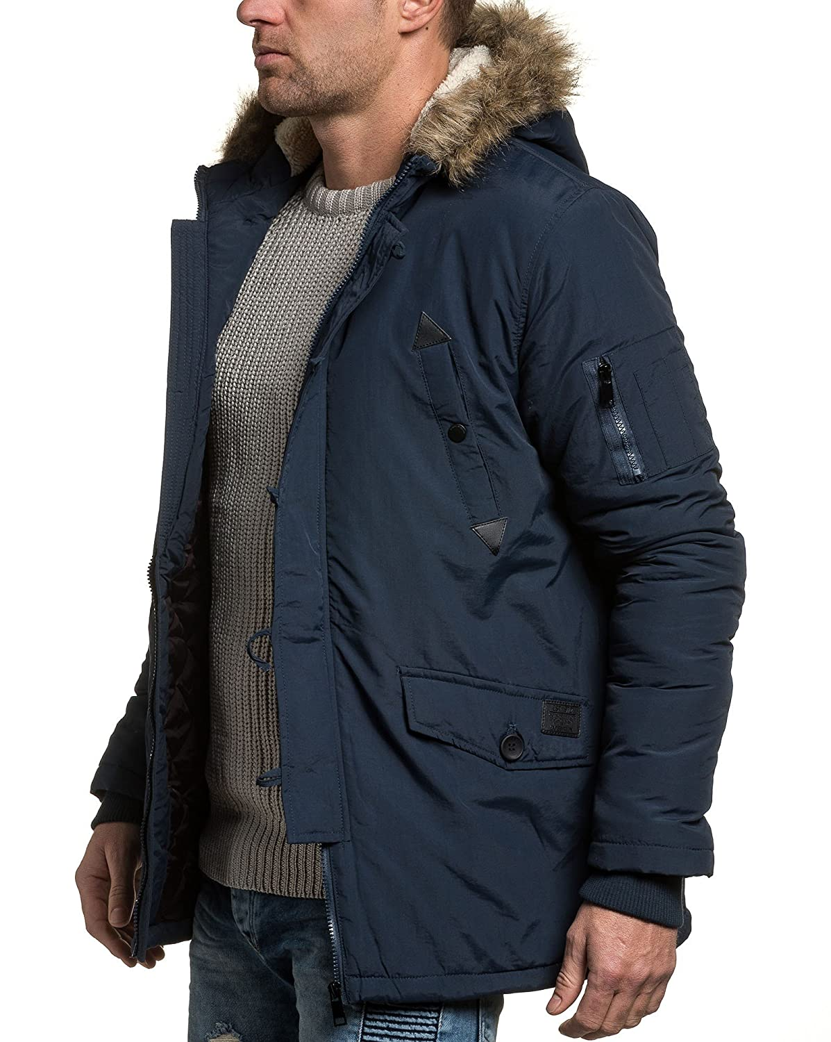 BLZ jeans - man blue parka jacket navy fur hood