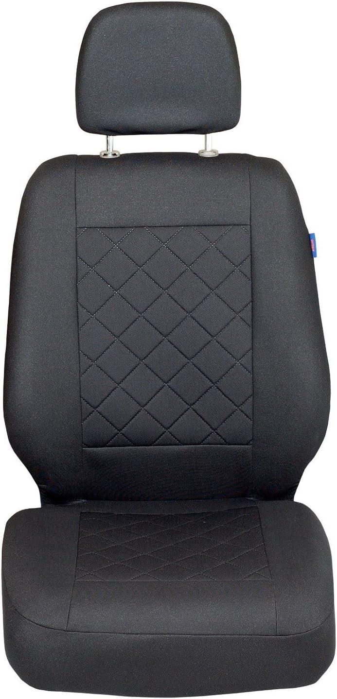 Color Premium Cuadrados Negros Zakschneider Fundas De Asiento para Fiat Scudo Funda Delantera Sill/ón del Conductor
