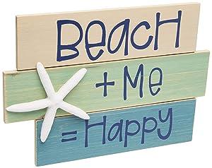 | Beach + Me = Happy | Wooden Beach Word Sign with Starfish | Coastal Beach Home Decor
