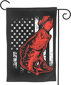 DZGlobal American Flag Garden Flag- Double Sided Print Bass Fishing Lure Yard Flags Banner Vivid Color USA Outdoor Indoor Decor 12x18 Inch