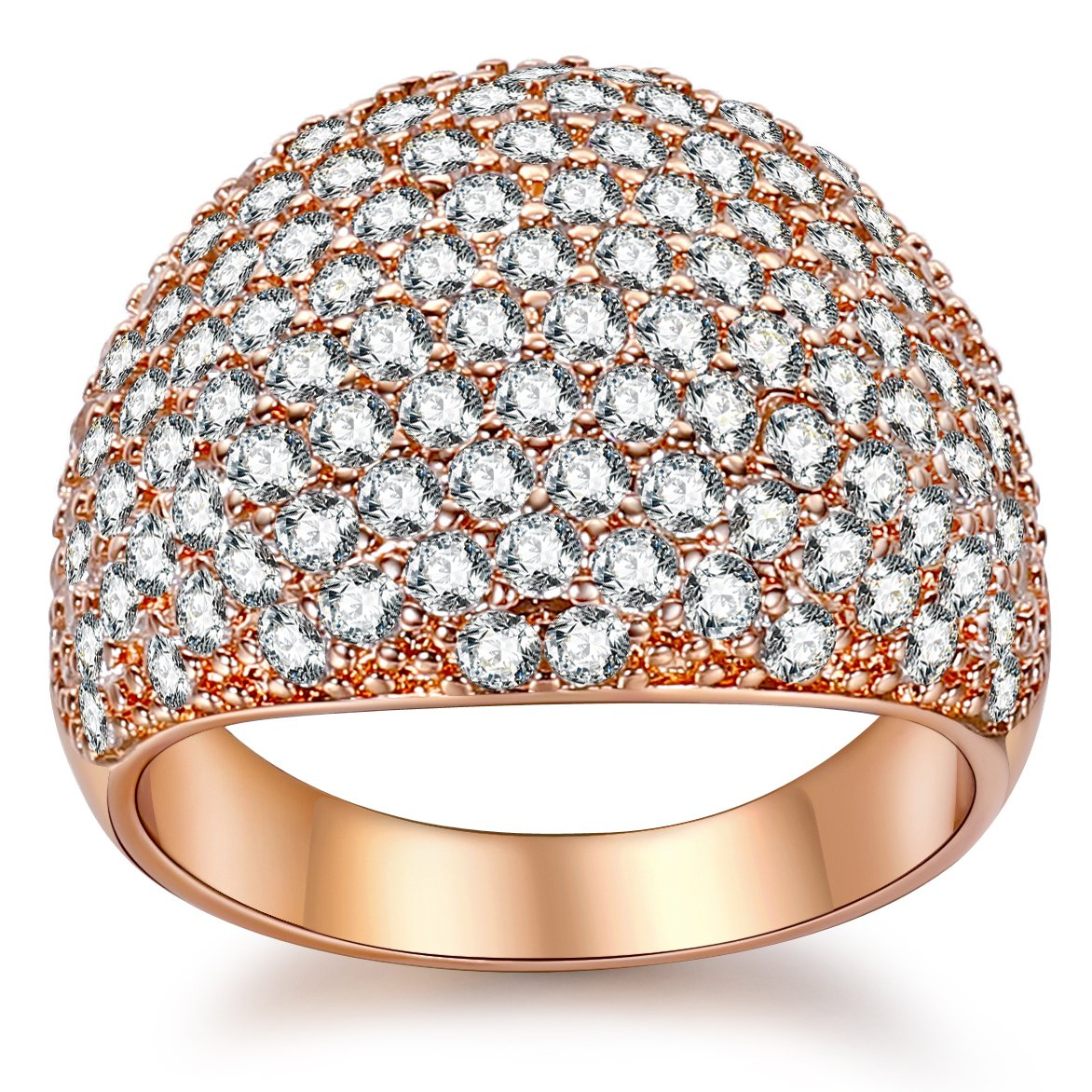 White Diamond Accent Dome Ring - Cluster Cubic Zirconia Paved Statement Wide Bands Size 5-11 (Rose Gold, 6)