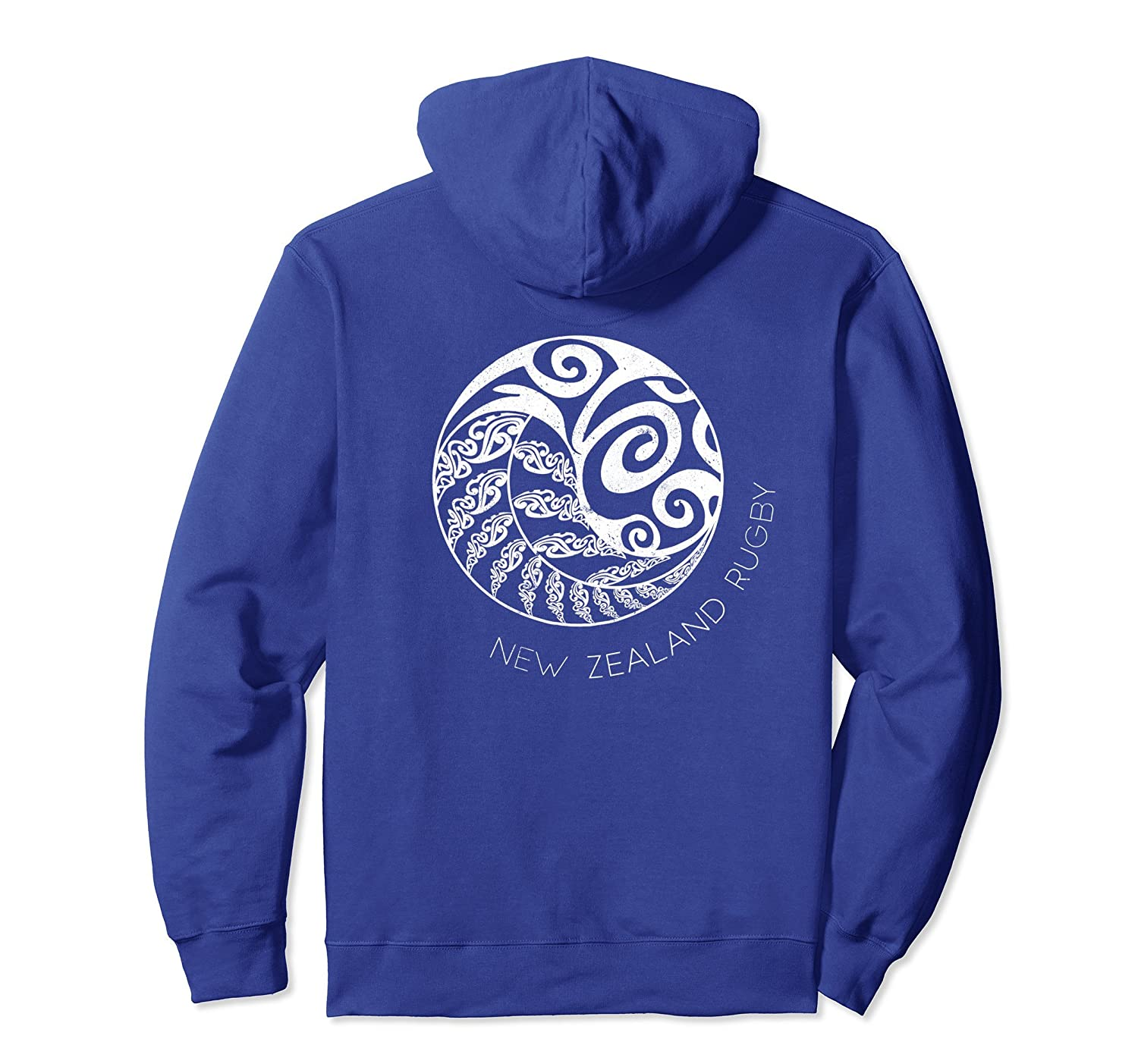 New Zealand Rugby Hoodie Back, Maori Inspired Kiwi & Fern-AZP