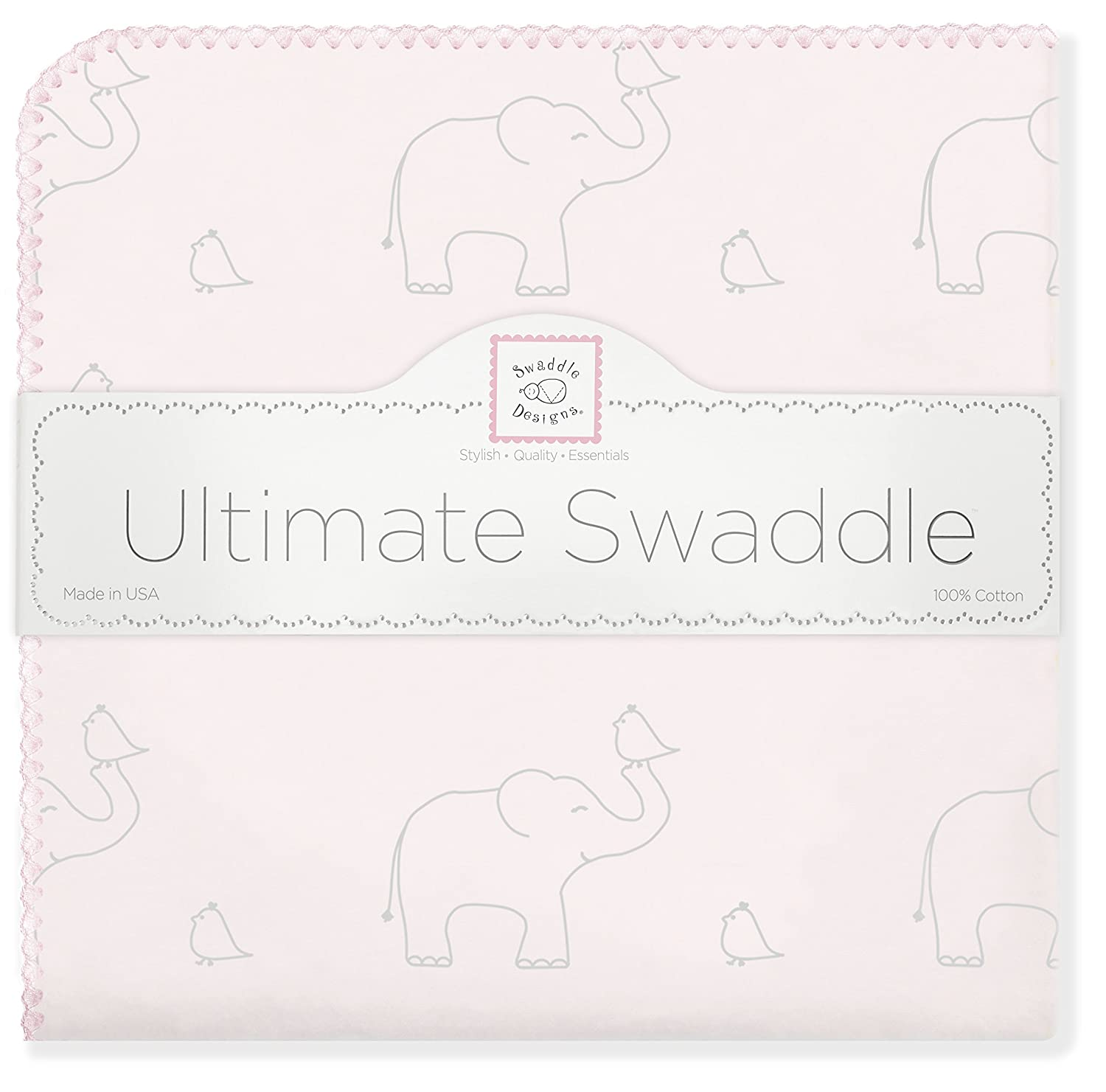 SwaddleDesigns Ultimate Swaddle Blanket, Premium Cotton Flannel, Sterling Deco Elephants on Sunwashed Yellow SD-352SY